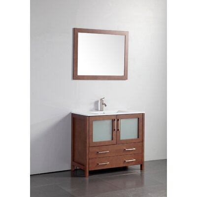 36 Single Bathroom Vanity Set with Mirror Base Finish: Cherry