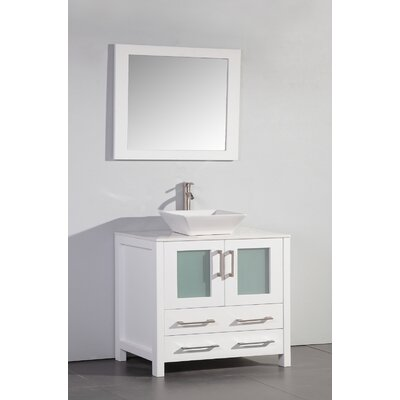 36 Single Bathroom Vanity Set with Mirror Base Finish: White