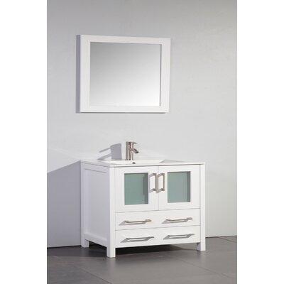 Neuman 36 Single Bathroom Vanity Set with Mirror Base Finish: White