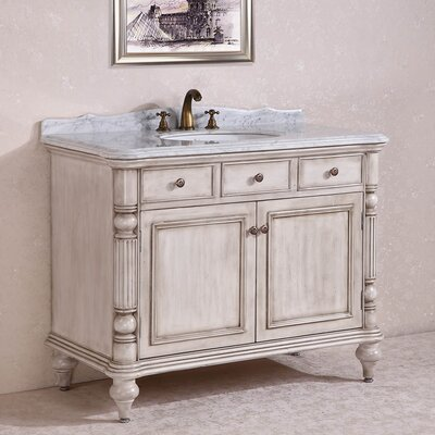 WH 47 Single Bathroom Vanity Set Base Finish: White
