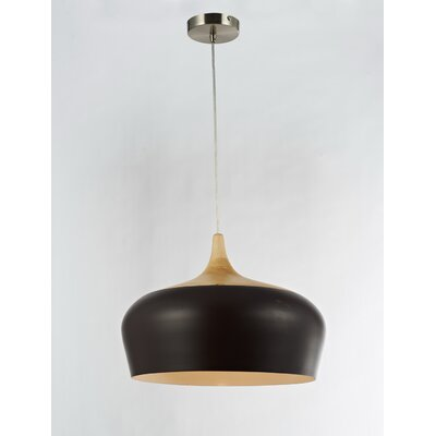 1-Light Inverted Bowl Pendant Shade Color: White, Size: 10 H x 14 W x 14 D