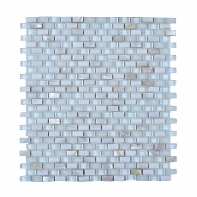 11.75 x 11.75 Stone and Glass Mosaic Tile in White