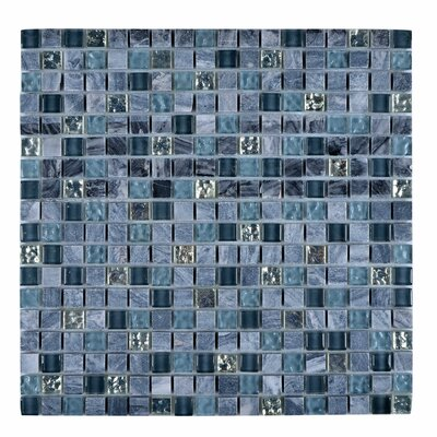 Stone and Glass Mosaic Tile in Glazed Blue