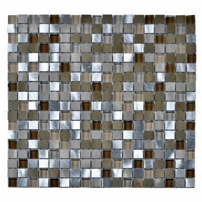 Stone and Glass Mosaic Tile in Glazed Beige