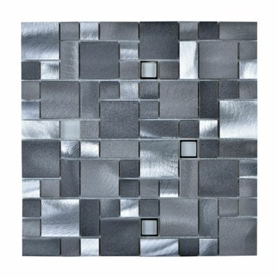 Random Sized Aluminum Mosaic Tile in Brushed Aluminum Gray