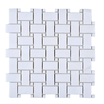 11.75 x 11.75 Engineered Stone Mosaic Tile in White