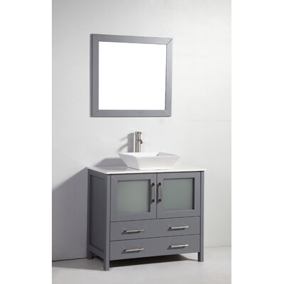 36 Single Bathroom Vanity Set with Mirror Base Finish: Dark Gray