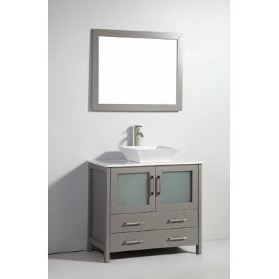 Neuhaus 36 Single Bathroom Vanity Set with Mirror Base Finish: Light Gray
