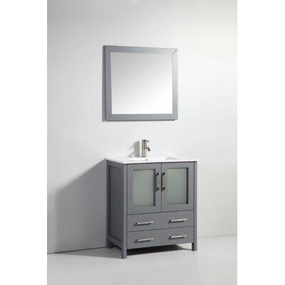 30 Single Bathroom Vanity Set with Mirror Base Finish: Dark Gray
