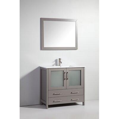 36 Single Bathroom Vanity Set with Mirror Base Finish: Light Gray