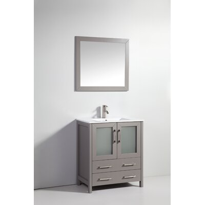 30 Single Bathroom Vanity Set with Mirror Base Finish: Light Gray
