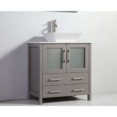 Karson Framed 30 Single Bathroom Vanity Set with Mirror Base Finish: Gray