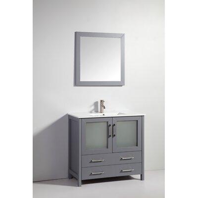Neuman 36 Single Bathroom Vanity Set with Mirror Base Finish: Dark Gray