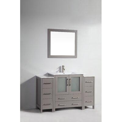 Karson 54 Single Bathroom Vanity Set with Mirror Base Finish: Gray