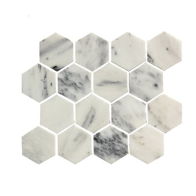 2.75 x 3.25 Stone Mosaic Tile in White