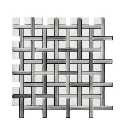 0.38 x 1.38 Stone Mosaic Tile in White
