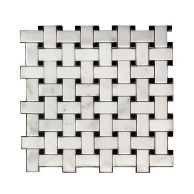 1 x 2 Stone Mosaic Tile in Polished White