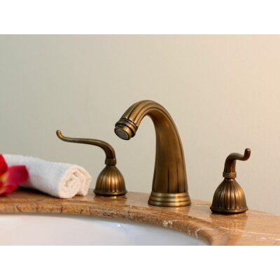 Widespread Bathroom Faucet with Double Scroll Handles Finish: Antique Brass