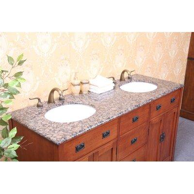 61 Double Bathroom Vanity Top Top Finish: Baltic Brown