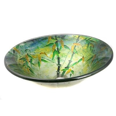 Bamboo Leaves Glass Circular Vessel Bathroom Sink