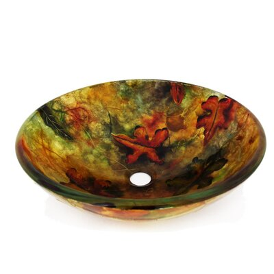 Fall Leaves Glass Circular Vessel Bathroom Sink