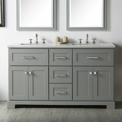 60 Double Vanity Set Base Finish: Cool Gray