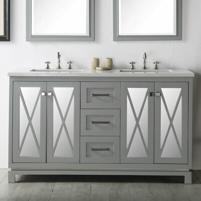60 Double Vanity Set Base Finish: Cool Gray