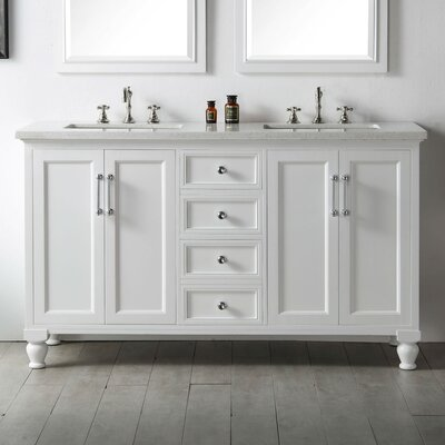 60 Double Vanity Set Base Finish: White