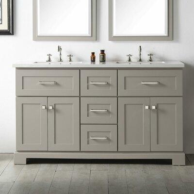60 Double Vanity Set Base Finish: Warm Gray