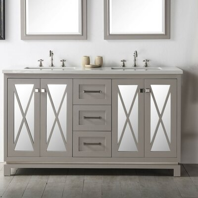 60 Double Vanity Set Base Finish: Warm Gray