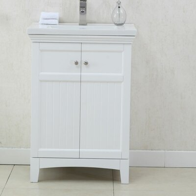 24 Single Bathroom Vanity Set Finish: White