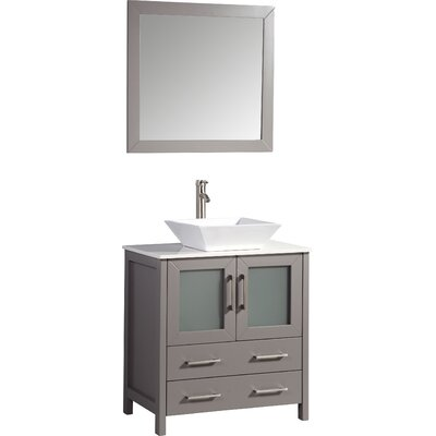Camillo 30 Single Bathroom Vanity Set with Mirror Base Finish: Light Gray