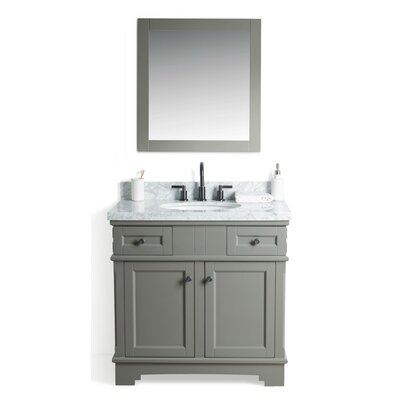 Rhine Solid Wood 37 Single Bathroom Vanity Set with Mirror Base Finish: Gray