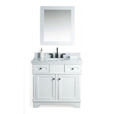 Parkman Solid Wood 37 Single Bathroom Vanity Set with Mirror Base Finish: White