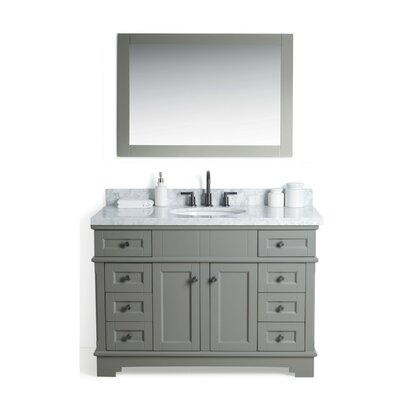 Coeur dAlene Solid Wood 49 Single Bathroom Vanity Set with Mirror Base Finish: Gray