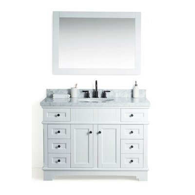 Coeur dAlene Solid Wood 49 Single Bathroom Vanity Set with Mirror Base Finish: White