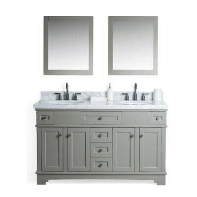 Parkman Solid Wood 61 Single Bathroom Vanity Set with Mirror Base Finish: Gray