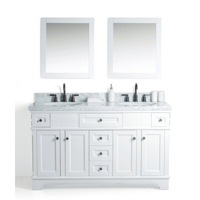 Hewson Solid Wood 61 Single Bathroom Vanity Set with Mirror Base Finish: White