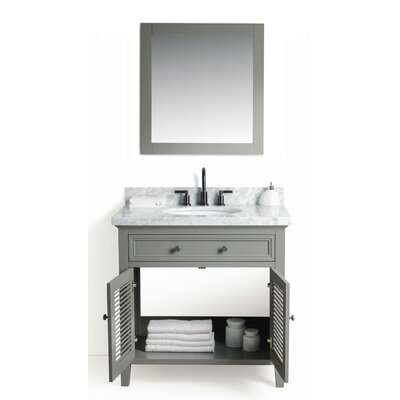 Parkman Solid Wood 37 Single Bathroom Vanity Set with Mirror Base Finish: Gray