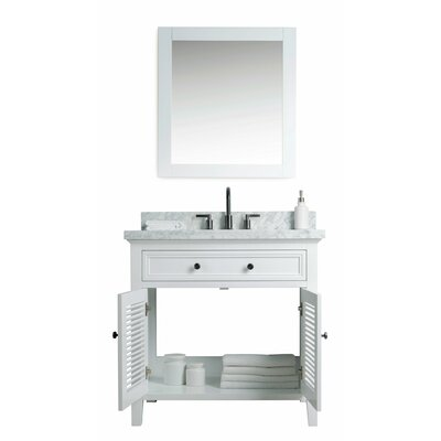 Parkman Solid Wood 37 Single Bathroom Vanity Set with Mirror Base Finish: White