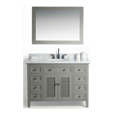 Parkman Solid Wood 49 Single Bathroom Vanity Set with Mirror Base Finish: Gray