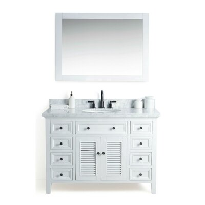 Harber�Solid Wood 49 Single Bathroom Vanity Set with Mirror Base Finish: White