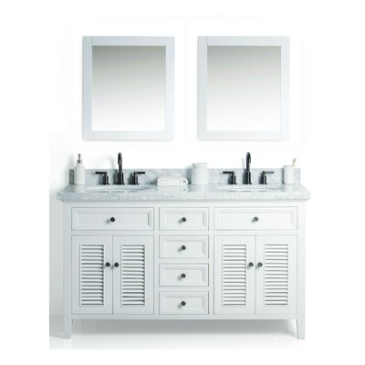 Braselton Solid Wood 61 Single Bathroom Vanity Set with Mirror Base Finish: White