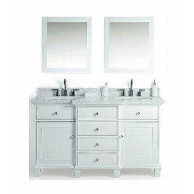 Hewish Solid Wood 61 Single Bathroom Vanity Set with Mirror Base Finish: White