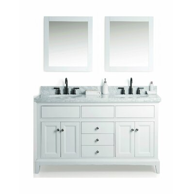McCall Solid Wood 61 Single Bathroom Vanity Set with Mirror Base Finish: White