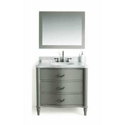 Filomena Solid Wood 37 Single Bathroom Vanity Set with Mirror Base Finish: Gray