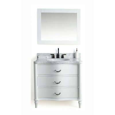 Filomena Solid Wood 37 Single Bathroom Vanity Set with Mirror Base Finish: White