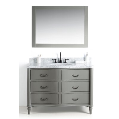 Kingston Seymour Wood 49 Single Bathroom Vanity Set with Mirror Base Finish: Gray