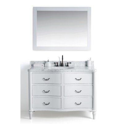 Filomena Solid Wood 49 Single Bathroom Vanity Set with Mirror Base Finish: White