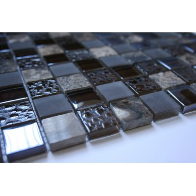 1 x 1 Glass Metal Tile in Multi-Color